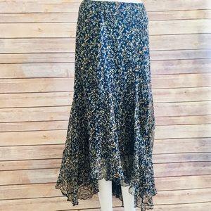 💥Anne Klein 💯 % Silk Navy Floral Skirt